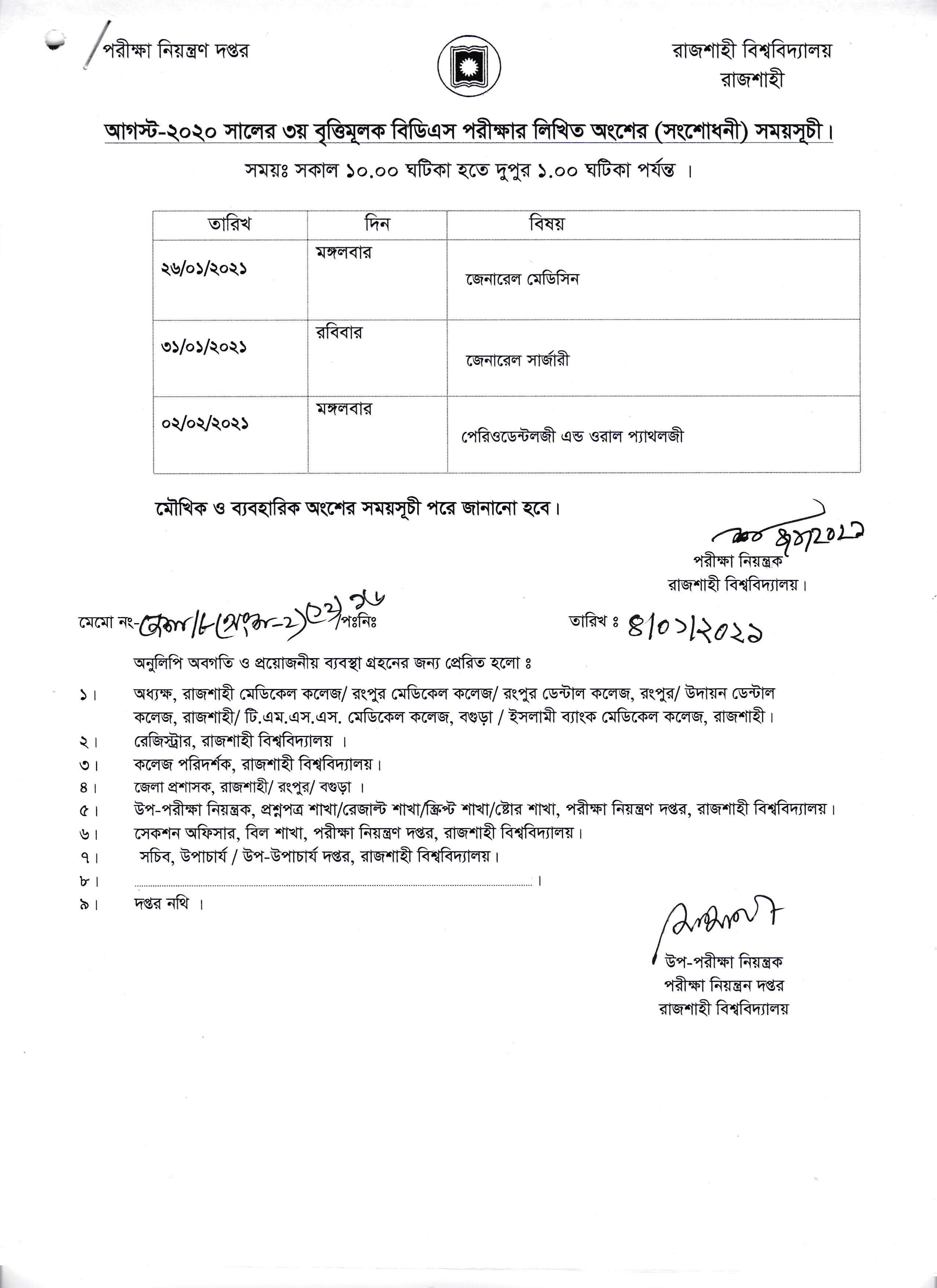 Exam Schedule of RDC 3rd Prof Exam August-2020 from 26 January to 02 February 2021